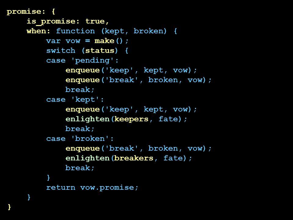 promise: { is_promise: true, when: function (kept, broken) { var vow = make(); switch (status) { case pending : enqueue( keep , kept, vow); enqueue( break , broken, vow); break; case kept : enlighten(keepers, fate); case broken : enlighten(breakers, fate); } return vow.promise;