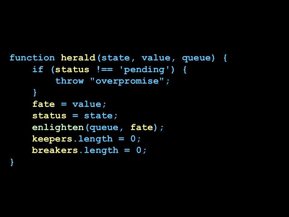 function herald(state, value, queue) { if (status