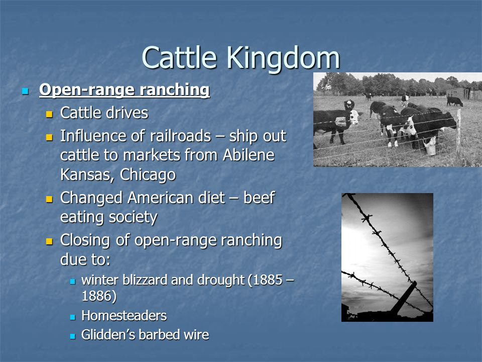Cattle Kingdom Open-range ranching Cattle drives