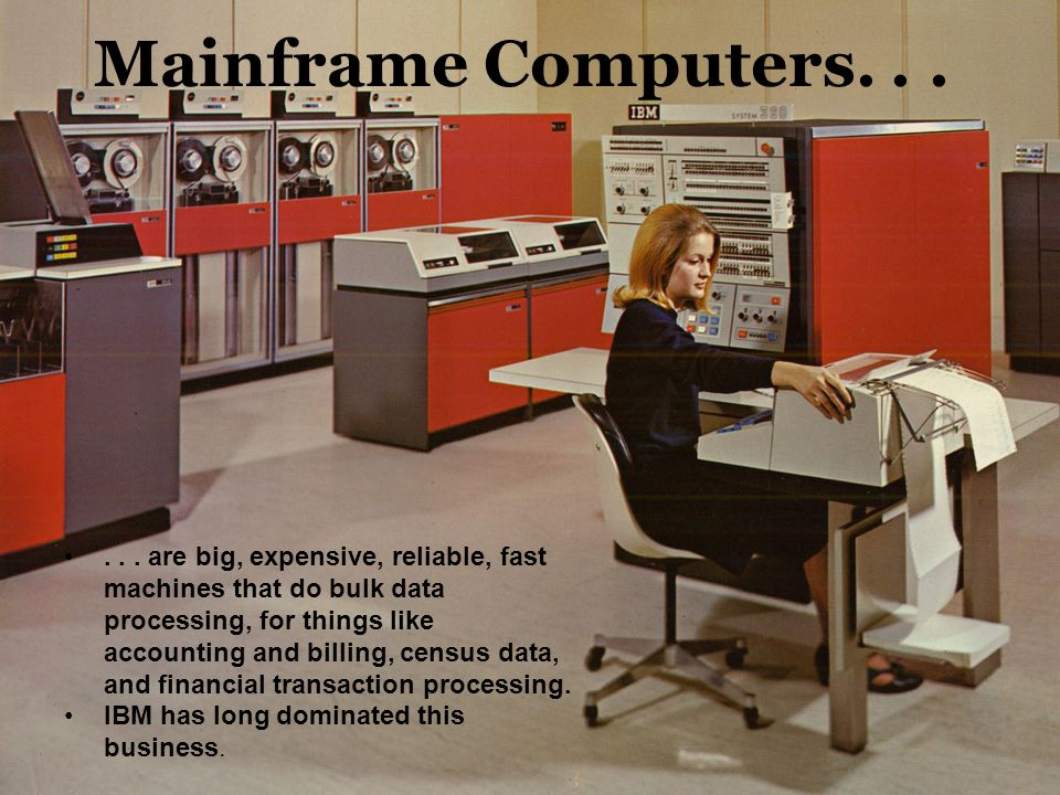 Mainframe Computers. . . Generally room-sized, with air conditioning, raised floors, etc.