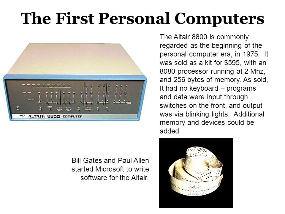 The First Personal Computers