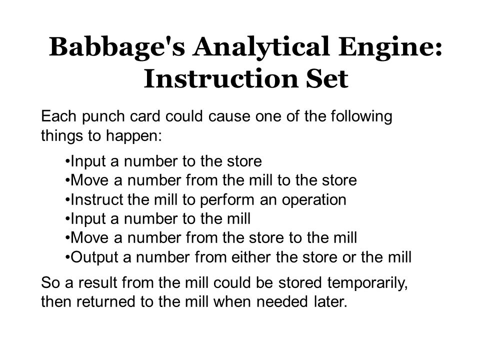 Babbage s Analytical Engine: Instruction Set