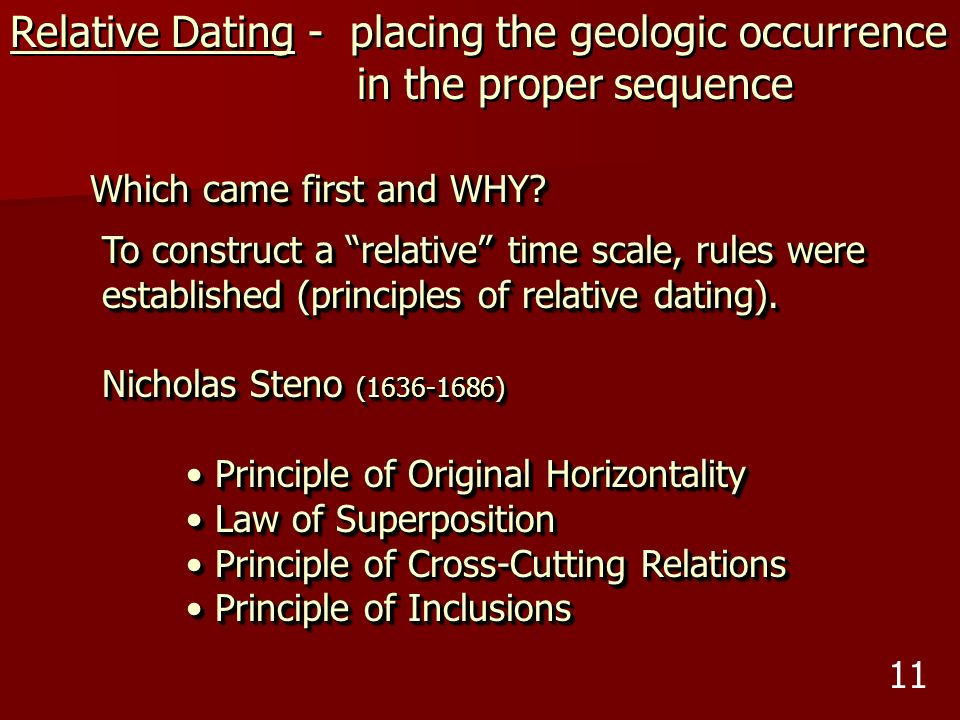 Relative Dating - placing the geologic occurrence
