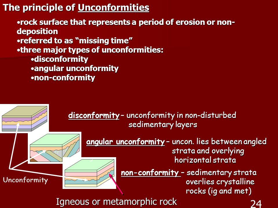 24 The principle of Unconformities Igneous or metamorphic rock