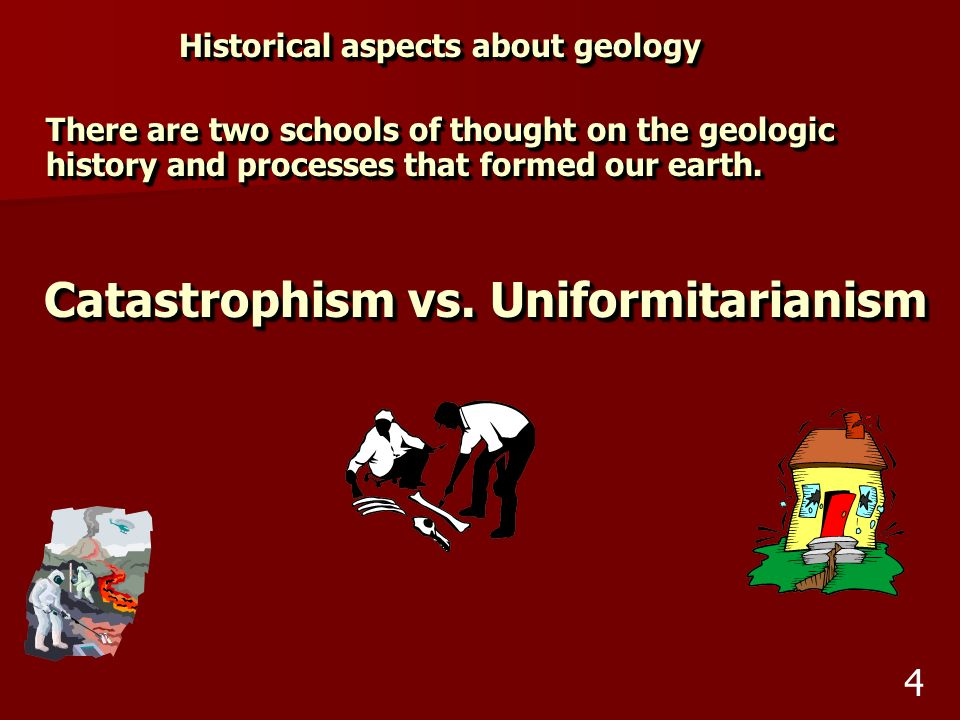 Historical aspects about geology Catastrophism vs. Uniformitarianism