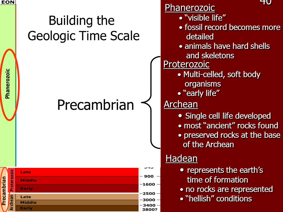 Precambrian Building the Geologic Time Scale 40 Phanerozoic