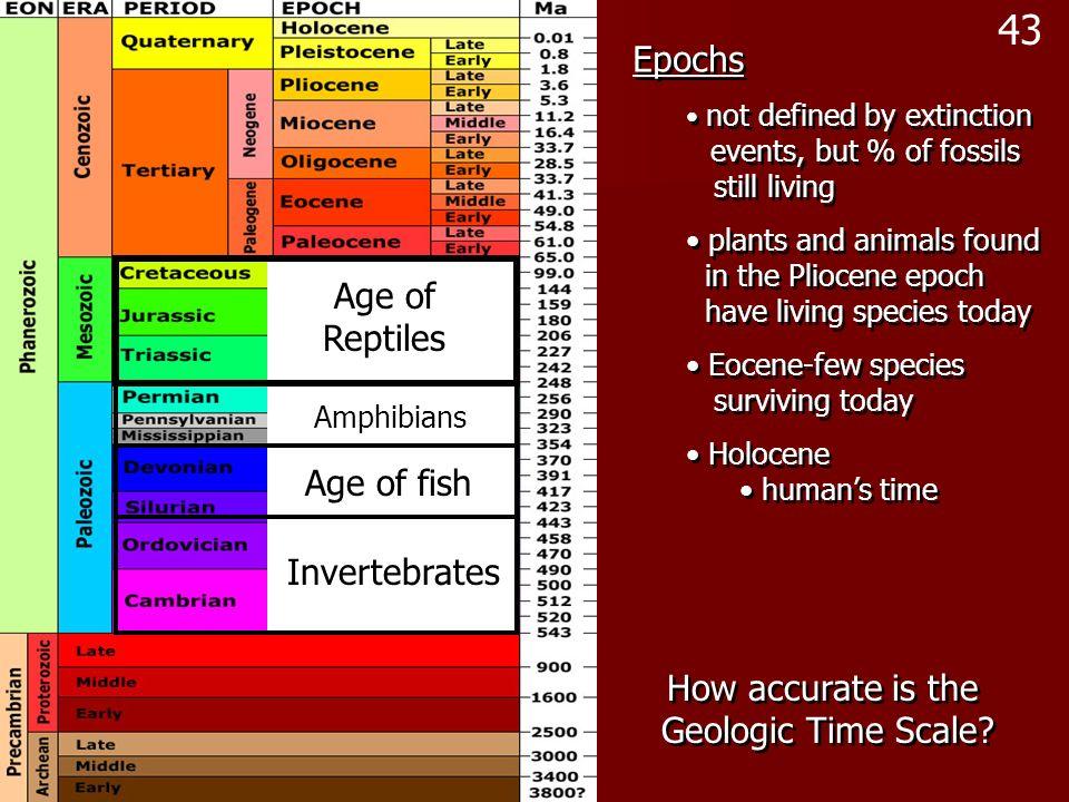 43 Epochs Age of Reptiles Age of fish Invertebrates