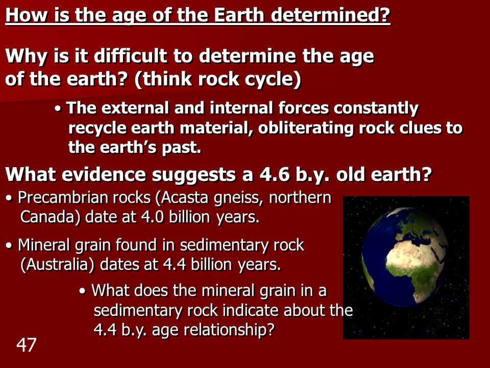 How is the age of the Earth determined