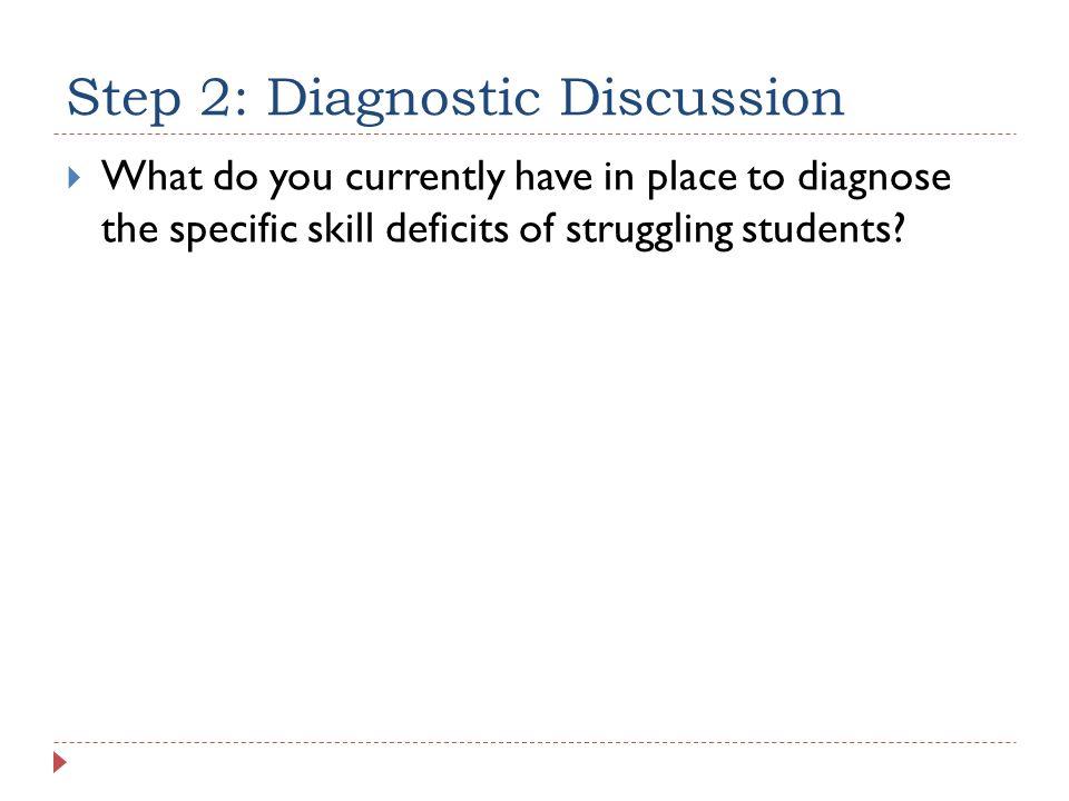 Step 2: Diagnostic Discussion