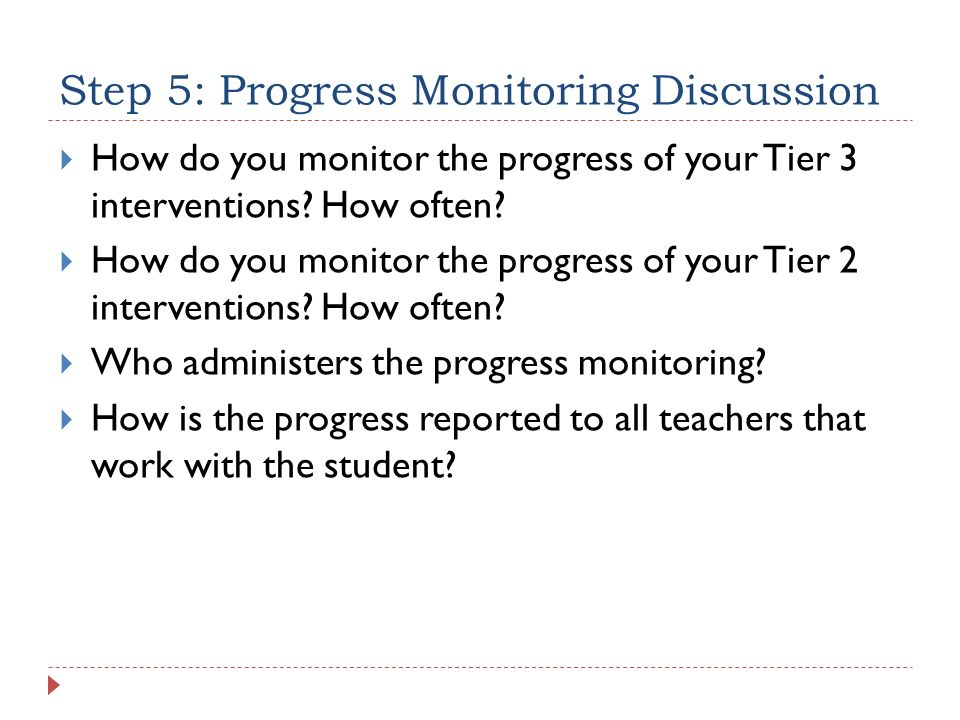 Step 5: Progress Monitoring Discussion
