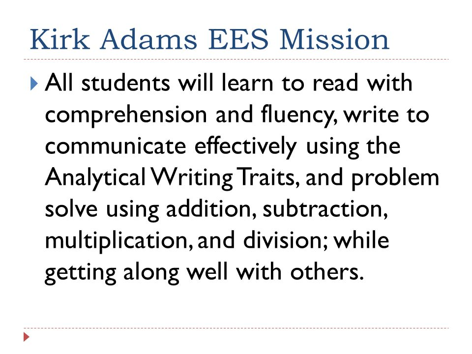Kirk Adams EES Mission