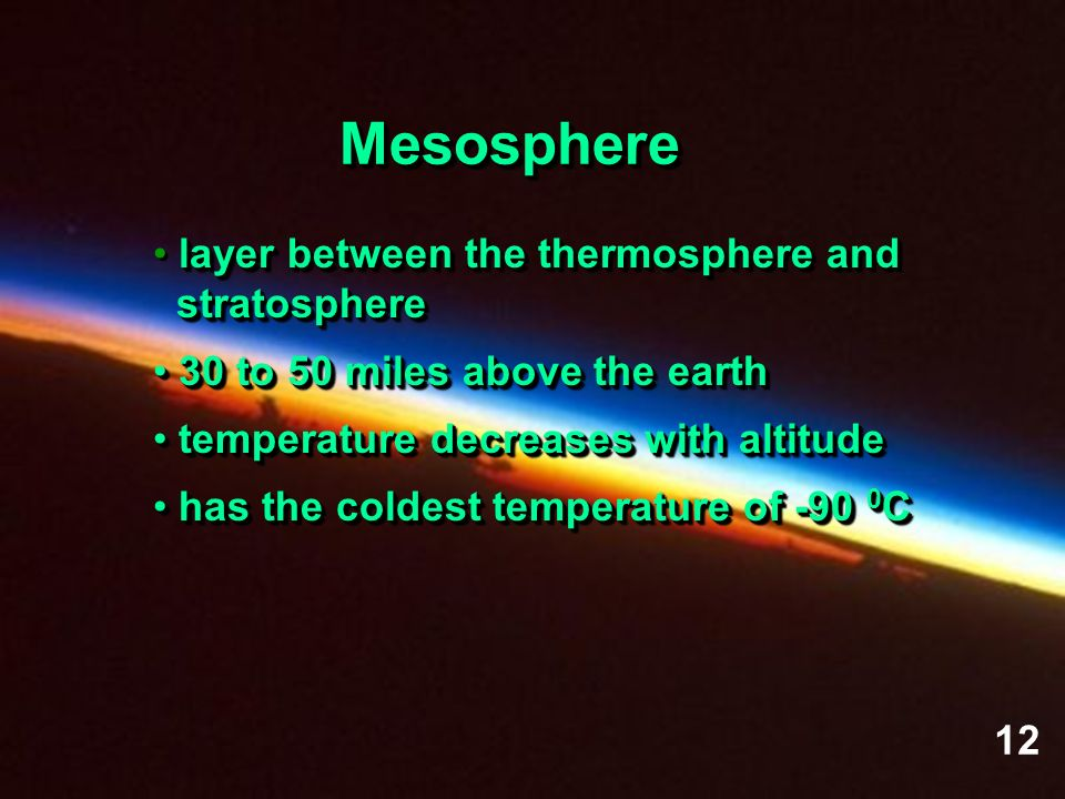 Mesosphere layer between the thermosphere and stratosphere
