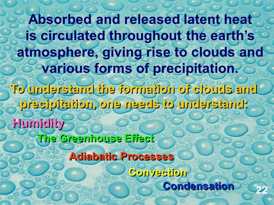 Absorbed and released latent heat is circulated throughout the earth's