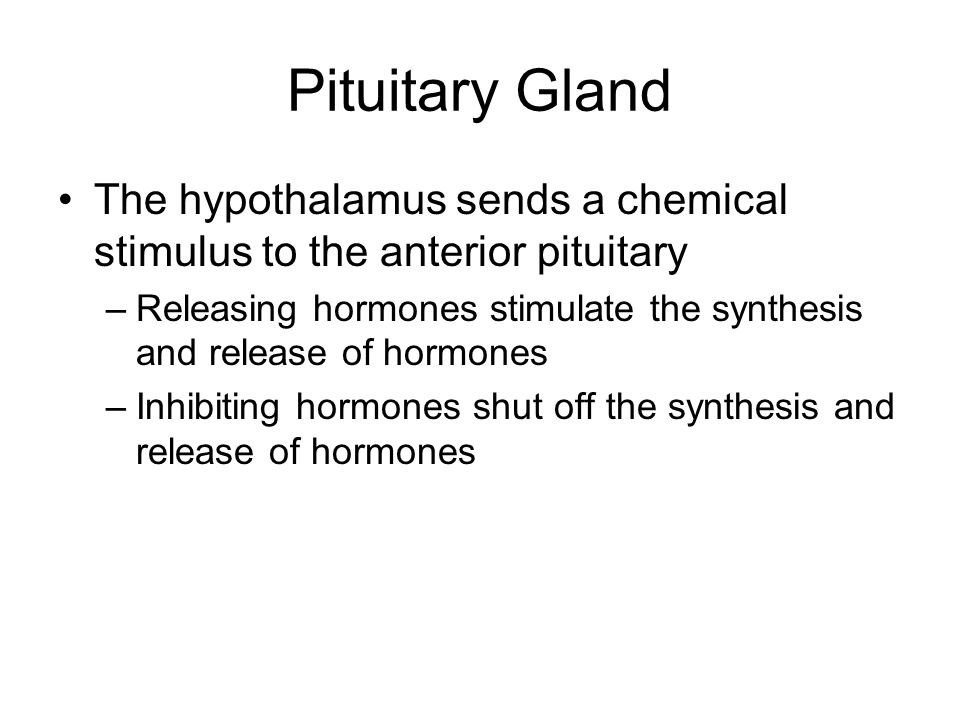 Pituitary Gland The hypothalamus sends a chemical stimulus to the anterior pituitary.