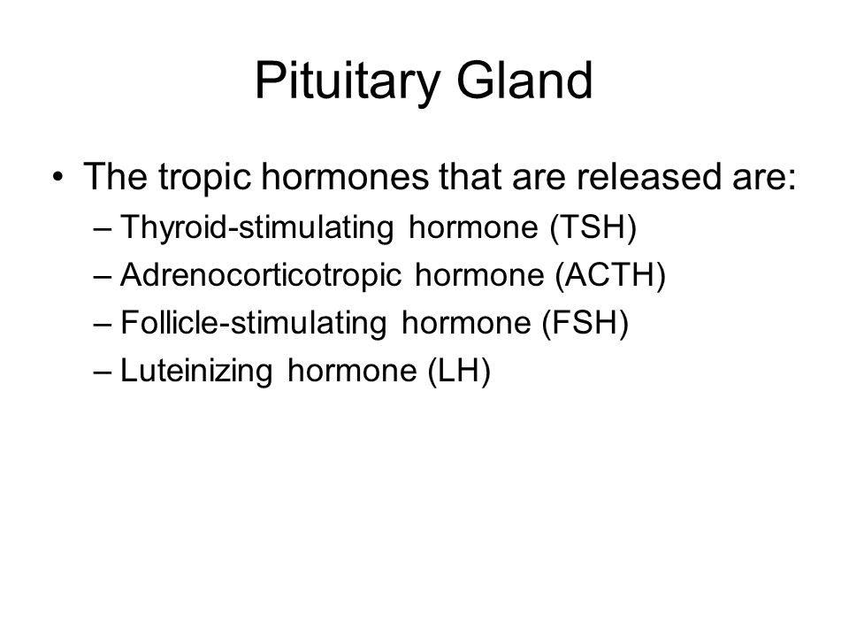 Pituitary Gland The tropic hormones that are released are: