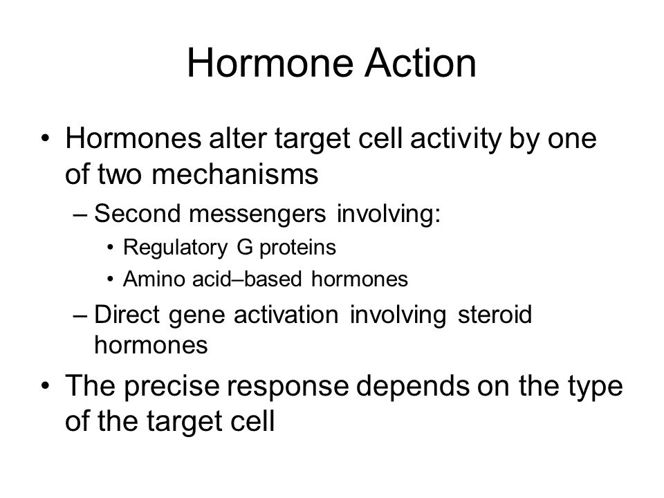 Hormone Action Hormones alter target cell activity by one of two mechanisms. Second messengers involving: