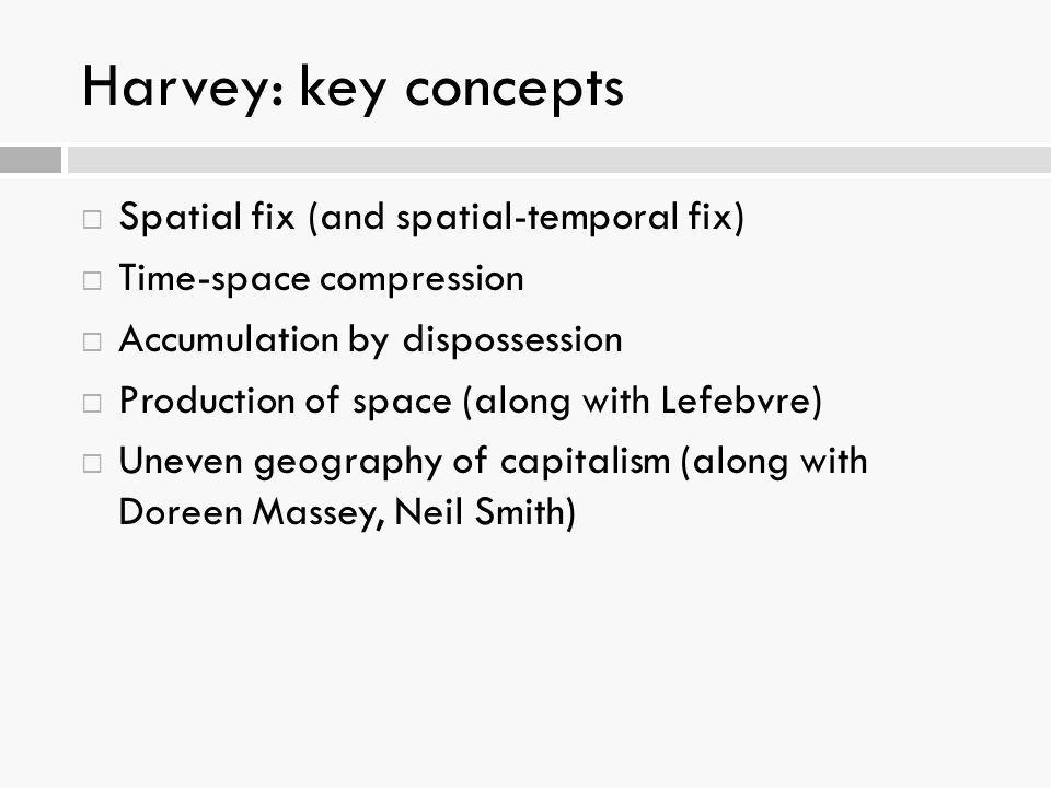 Harvey: key concepts Spatial fix (and spatial-temporal fix)