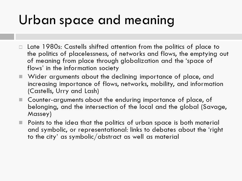 Urban space and meaning