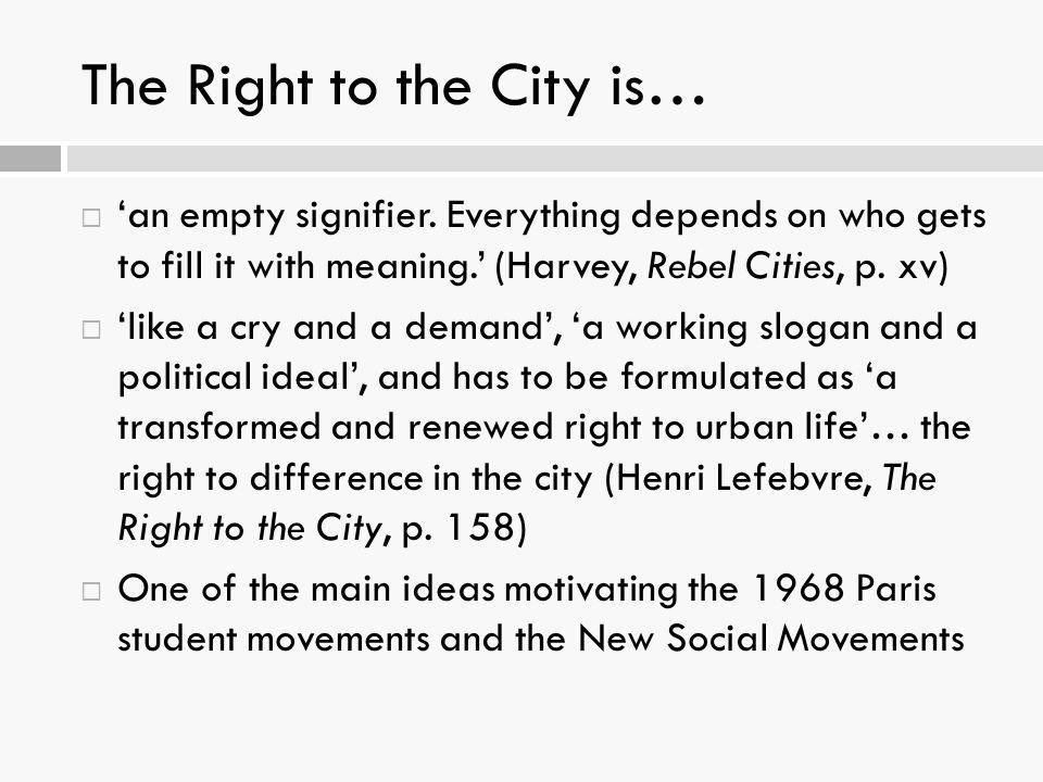 The Right to the City is…