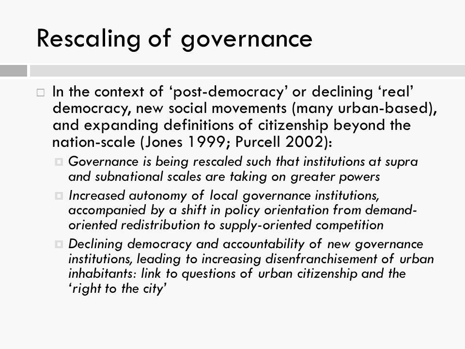 Rescaling of governance