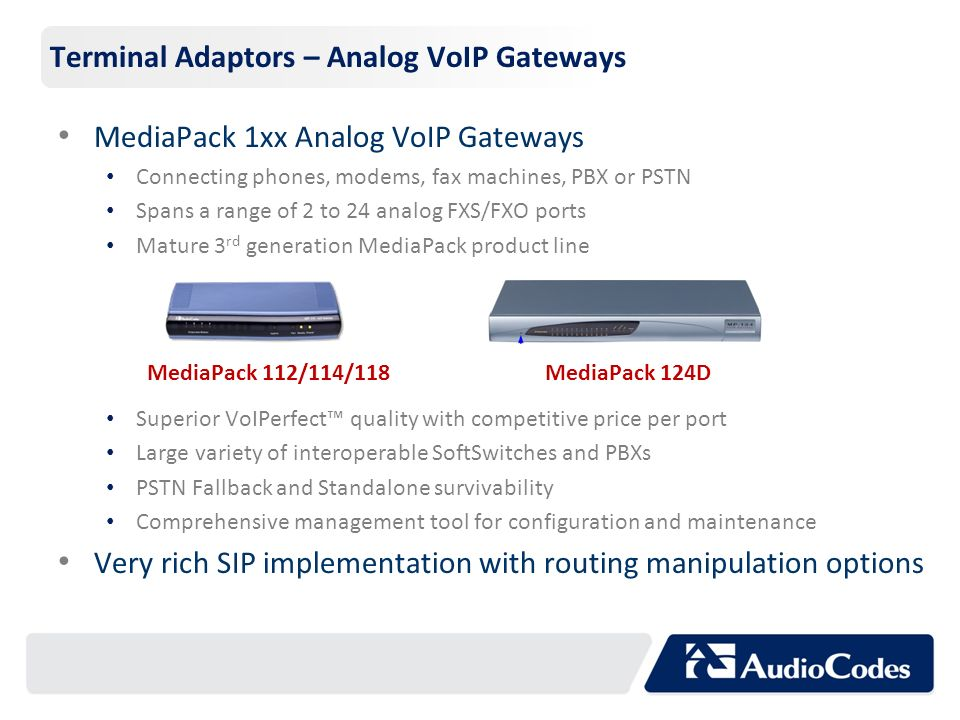 Terminal Adaptors – Analog VoIP Gateways
