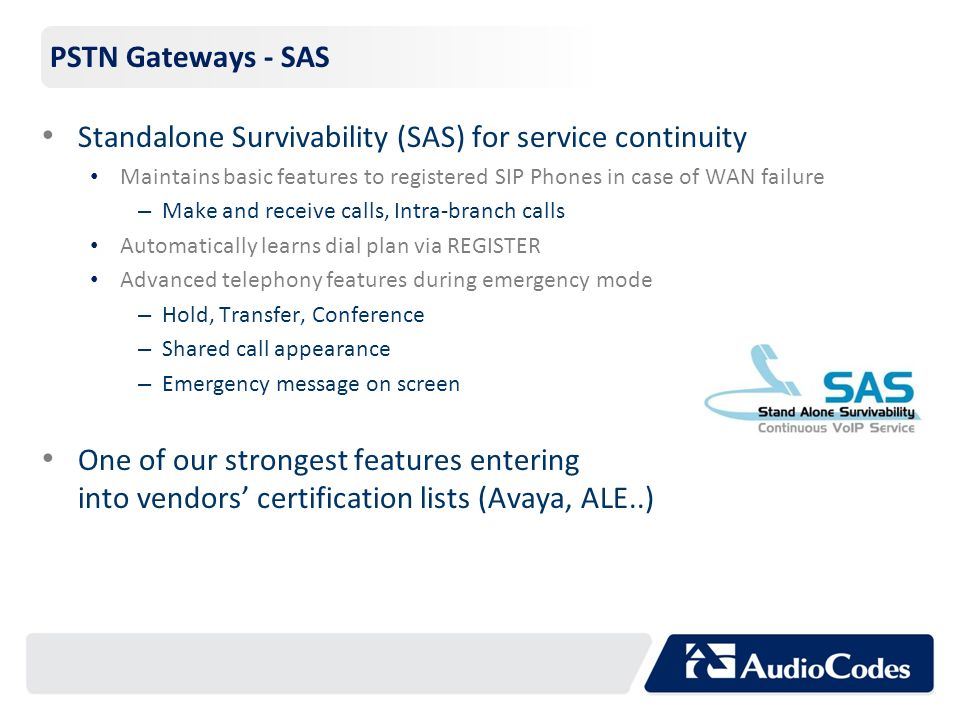 Standalone Survivability (SAS) for service continuity