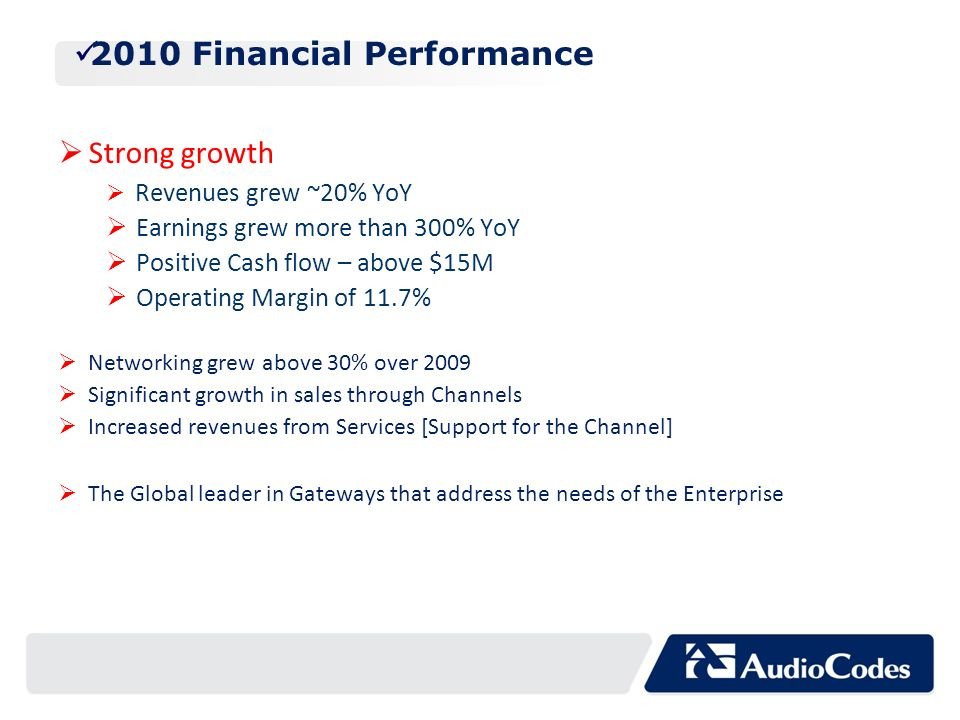 2010 Financial Performance