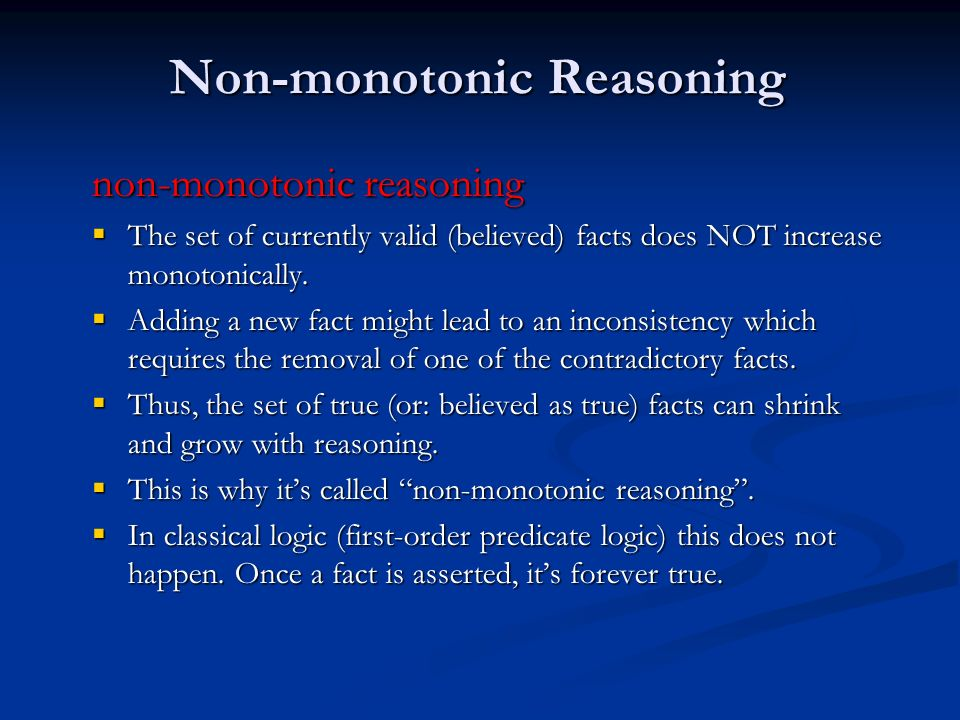 Non-monotonic Reasoning