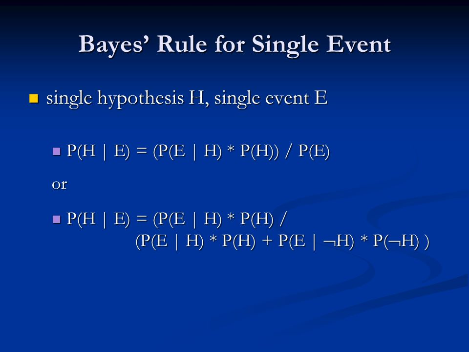 Bayes' Rule for Single Event