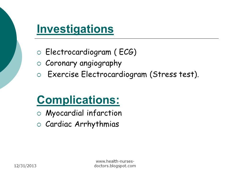 Investigations Complications: Electrocardiogram ( ECG)