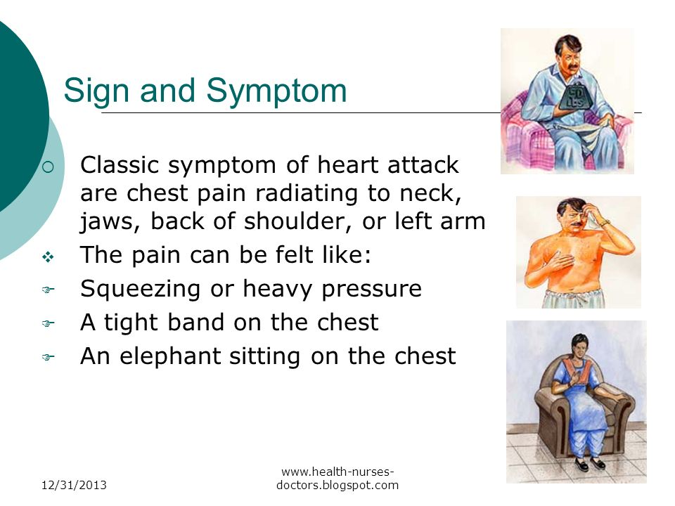 Sign and Symptom Classic symptom of heart attack are chest pain radiating to neck, jaws, back of shoulder, or left arm.