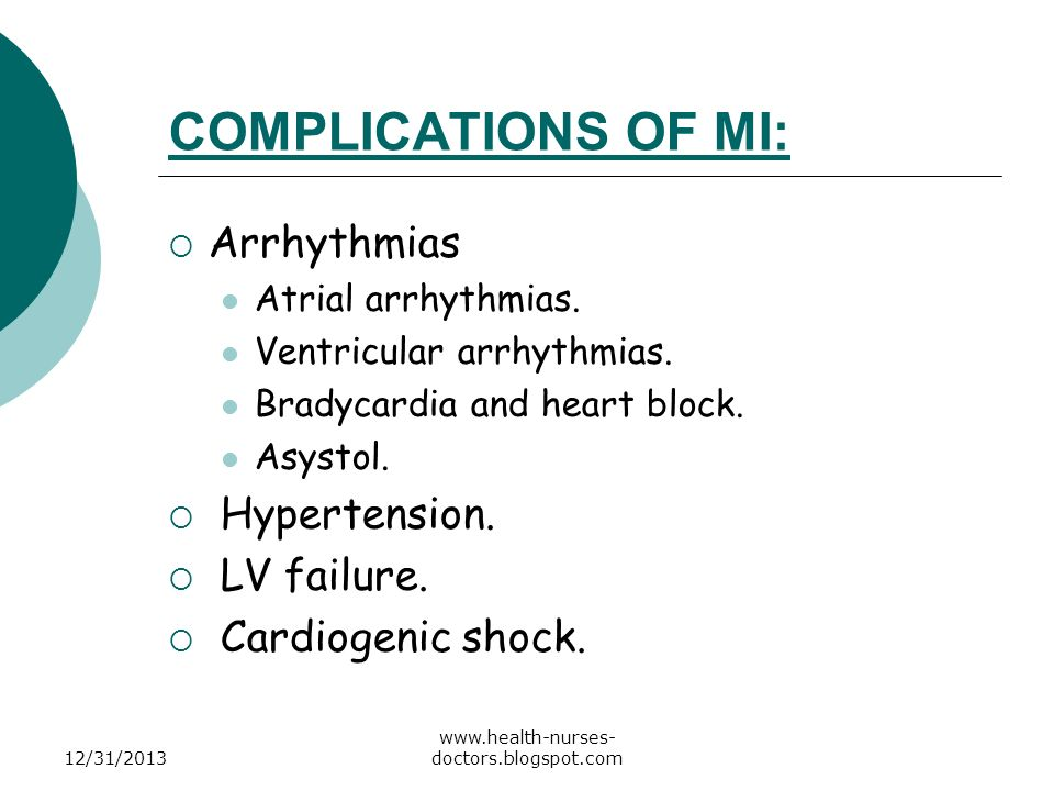 COMPLICATIONS OF MI: Arrhythmias Hypertension. LV failure.