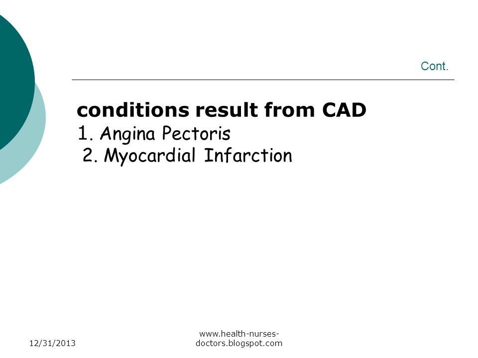 conditions result from CAD 1. Angina Pectoris