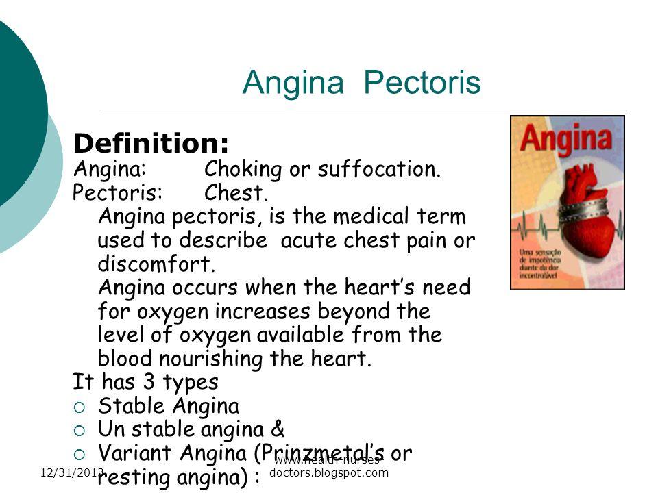 Angina Pectoris Definition: Angina: Choking or suffocation.