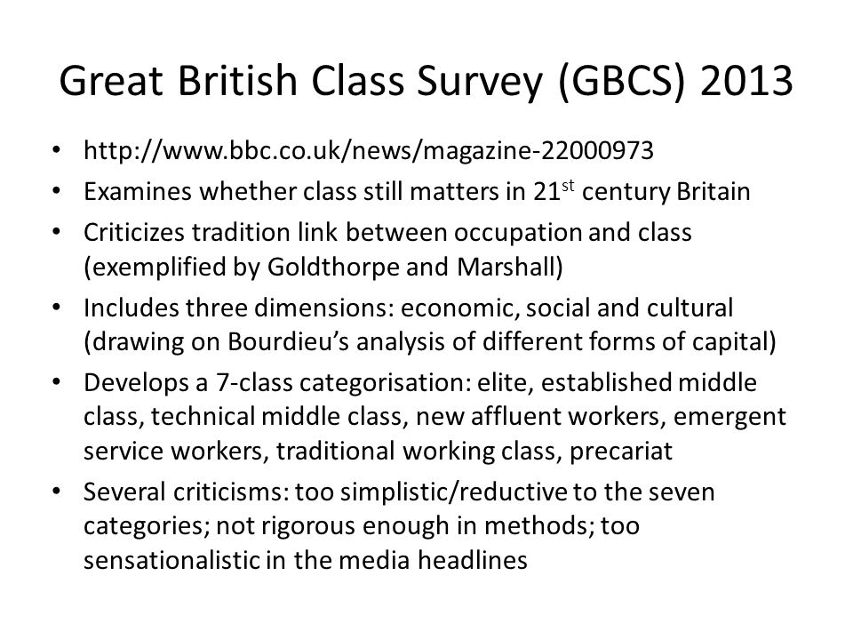 Great British Class Survey (GBCS) 2013