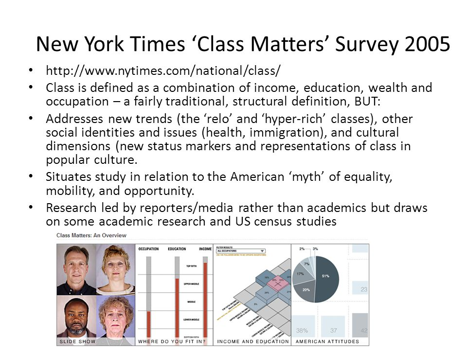 New York Times 'Class Matters' Survey 2005