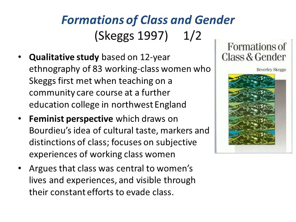 Formations of Class and Gender (Skeggs 1997) 1/2