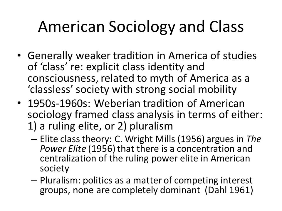 American Sociology and Class