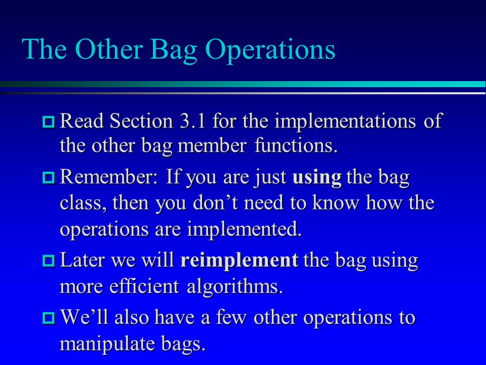 The Other Bag Operations