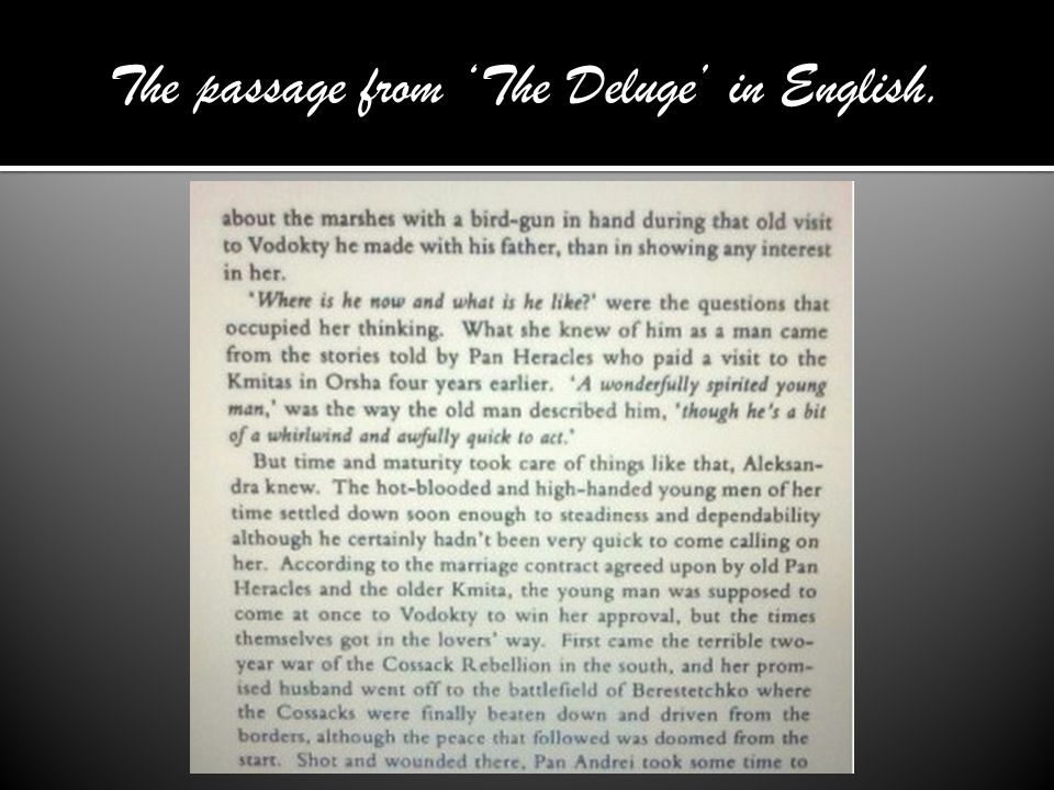 The passage from 'The Deluge' in English.
