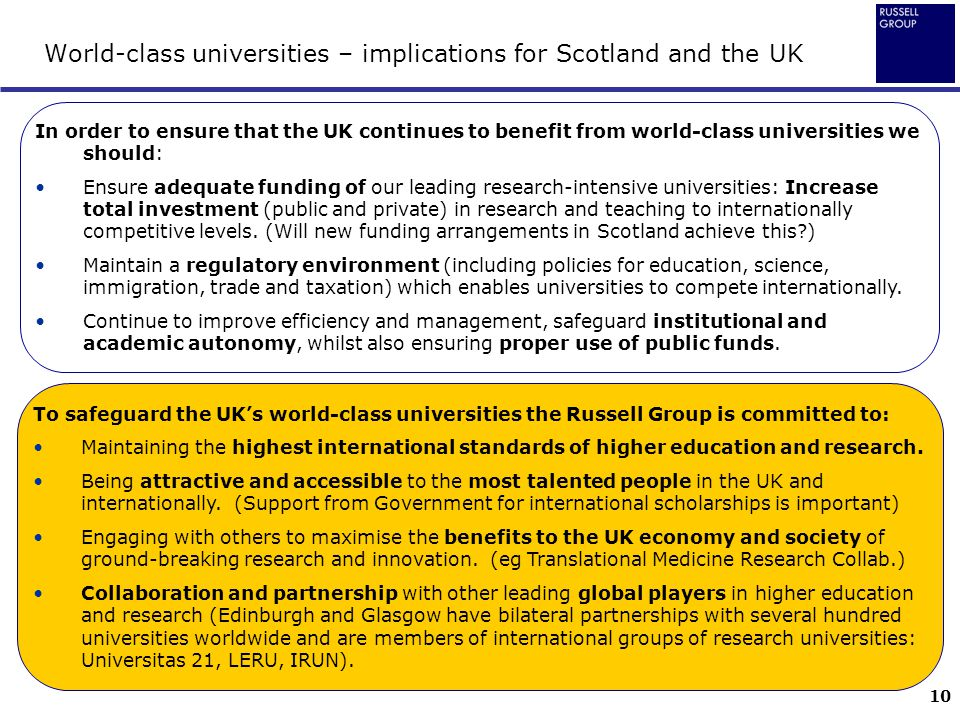 World-class universities – implications for Scotland and the UK