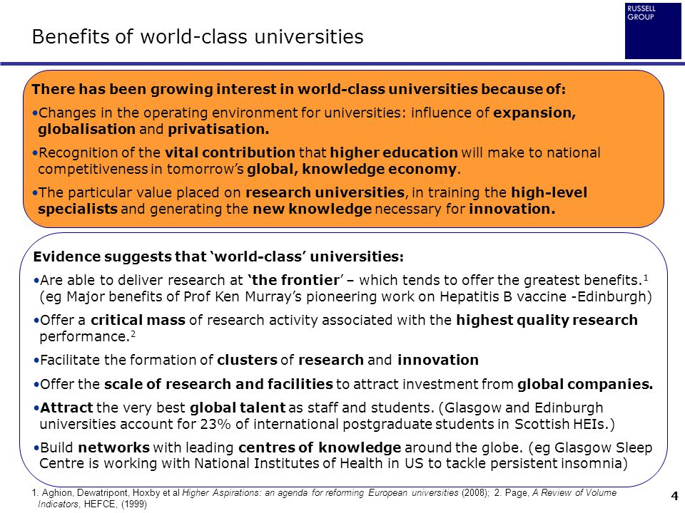 Benefits of world-class universities