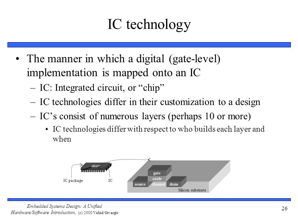 IC technology The manner in which a digital (gate-level) implementation is mapped onto an IC. IC: Integrated circuit, or chip