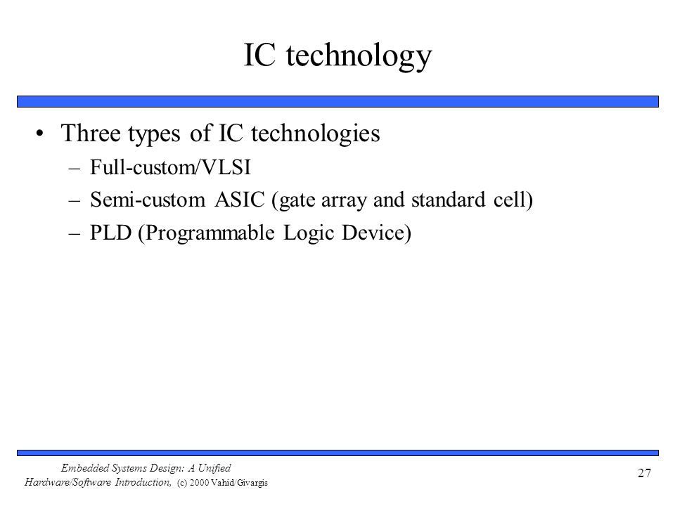 IC technology Three types of IC technologies Full-custom/VLSI