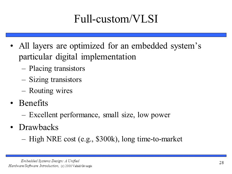 Full-custom/VLSI All layers are optimized for an embedded system's particular digital implementation.