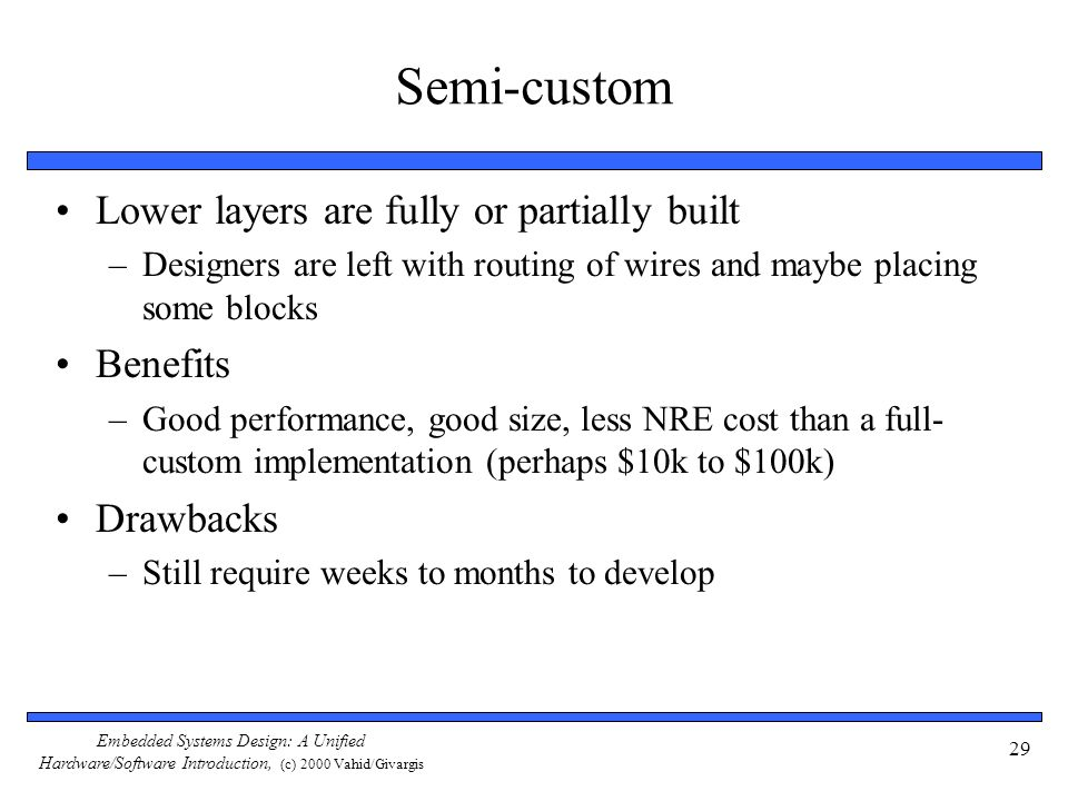 Semi-custom Lower layers are fully or partially built Benefits