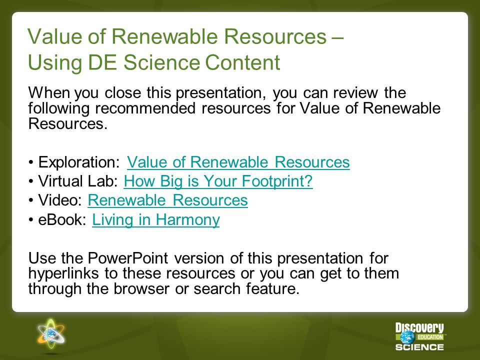 Value of Renewable Resources – Using DE Science Content