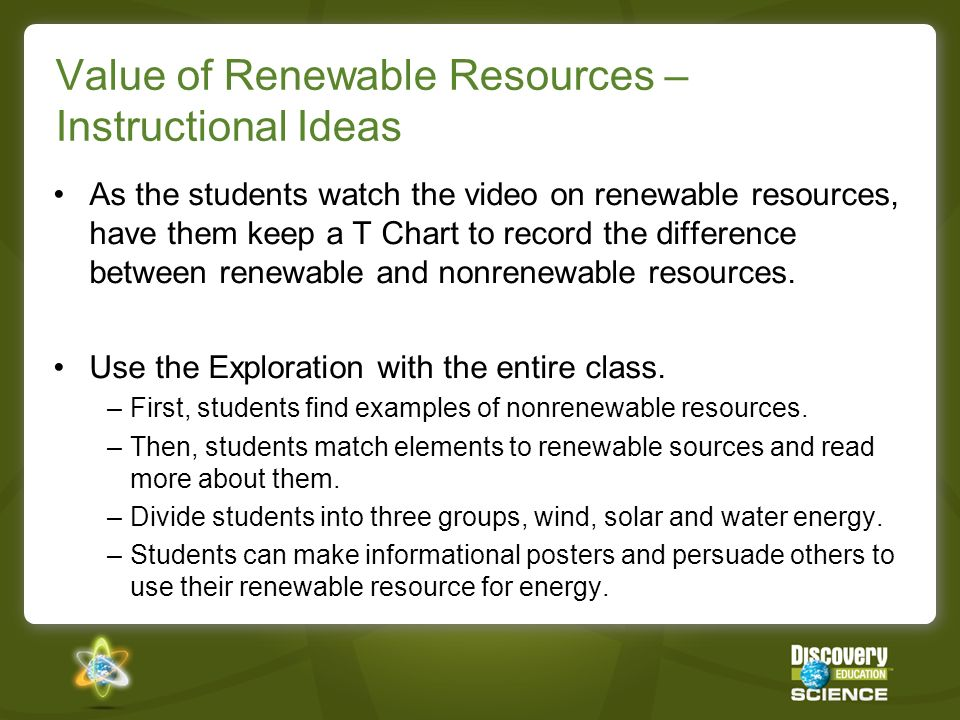 Value of Renewable Resources – Instructional Ideas