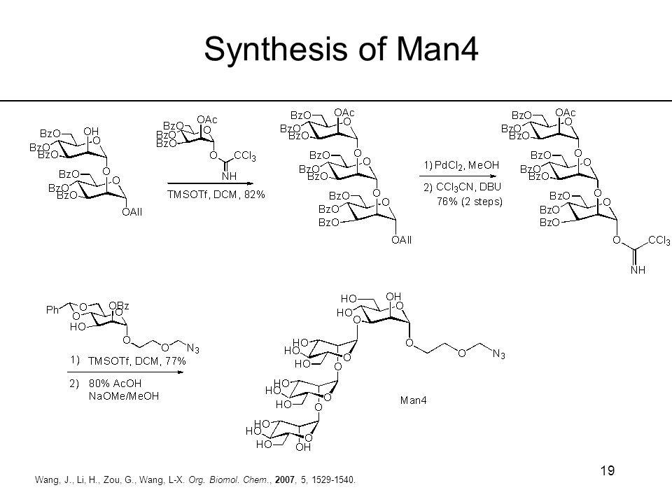 Synthesis of Man4 Wang, J., Li, H., Zou, G., Wang, L-X. Org. Biomol. Chem., 2007, 5, 1529-1540.