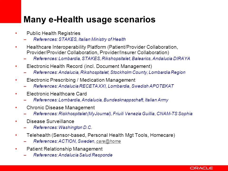 Many e-Health usage scenarios